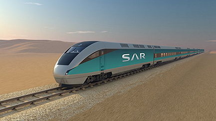 A high speed passenger train on the Saudi North-South railway