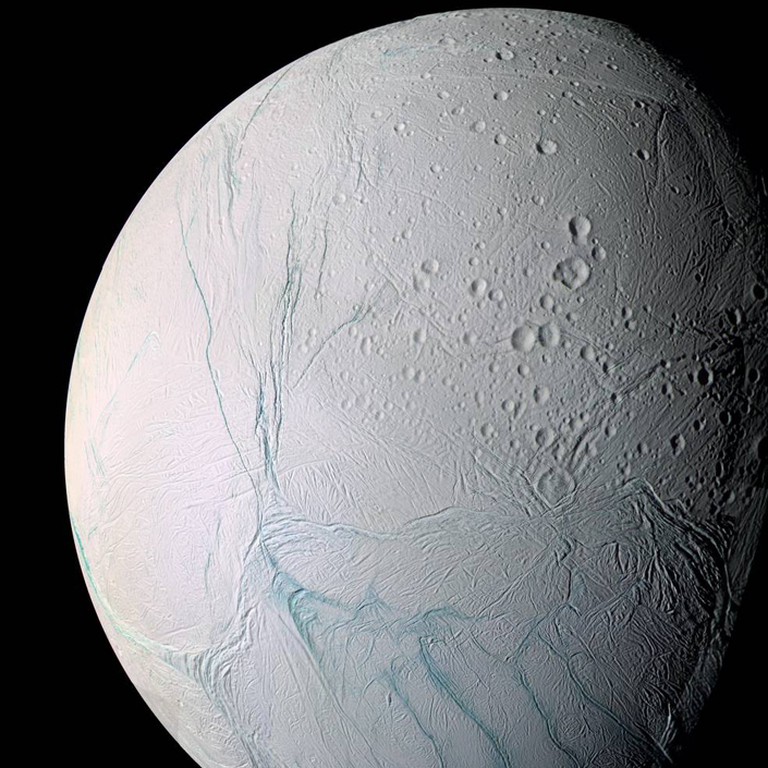 (Cassini view of southern latitudes on Enceladus. Credit: NASA)