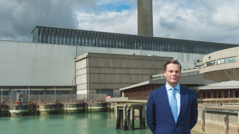 Owner and project leader Aldred Drummond in front of the old Fawley Power Station (Credit: Steph Osmond Photography)