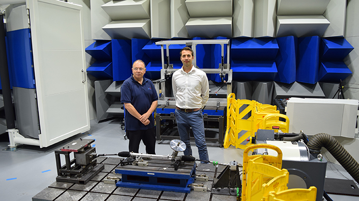 Allan Robinson and Tom Francis in the Saint-Gobain chamber in Bristol