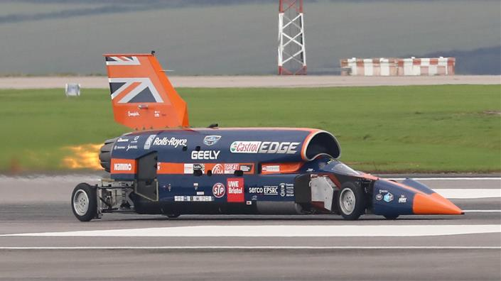 Andy Green drives the Bloodhound during testing in Newquay (Credit: Tom McCarthy)