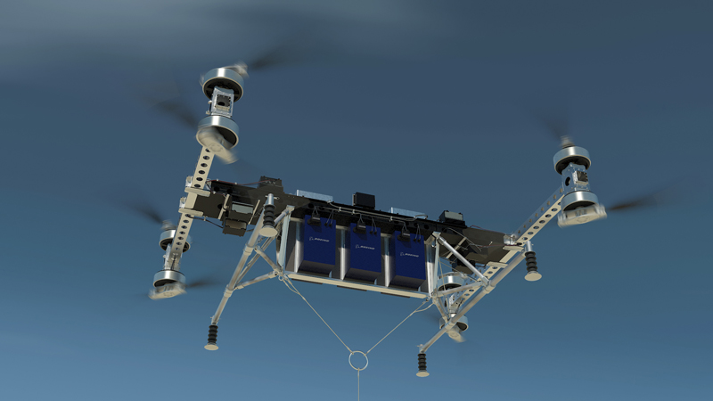A concept image of the drone in flight. A prototype has completed initial flight tests (Credit: Boeing)