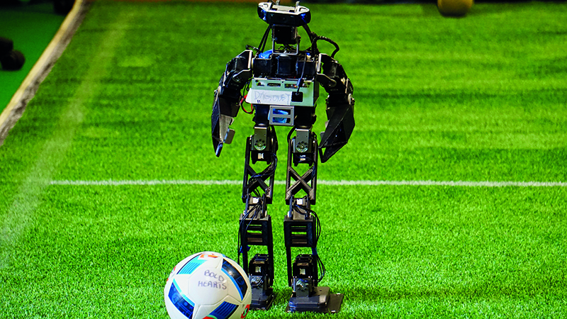 The Dagonet is an adapted version of the DARwIn-OP robotic platform, a popular off-the-shelf choice for robot footballers (Credit: RoboCup)