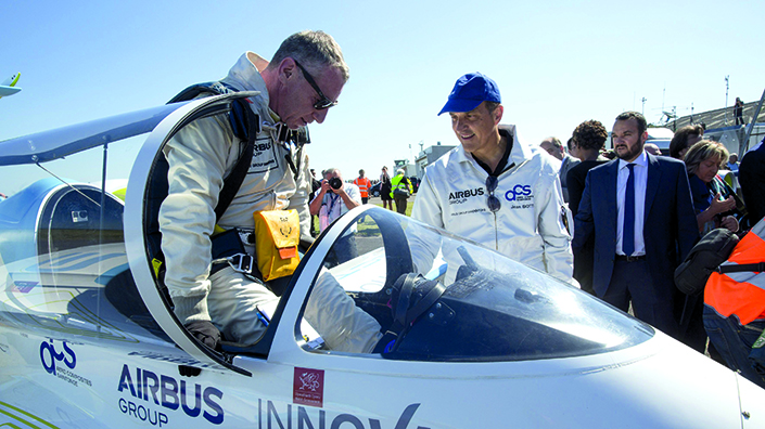 Pilot Didier Esteyne after his cross-Channel flight in the E-Fan (Credit: Airbus)