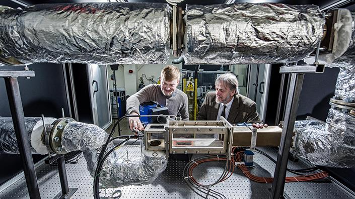 Dr Jonathan Wilson and Professor Graham Hargrave working on their low-emissions diesel technology at Loughborough University