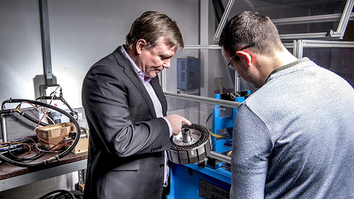 Ian Foley (left) is developing high-performance motors for the new breed of cars (Credit: Equipmake)