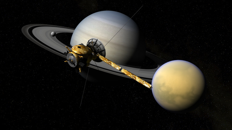 Cassini in front of The Lord of the Rings. (Credit: NASA)