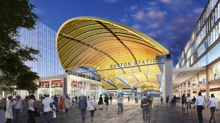 A concept image shows how the London Euston HS2 station could look (Credit: HS2/ Grimshaw)