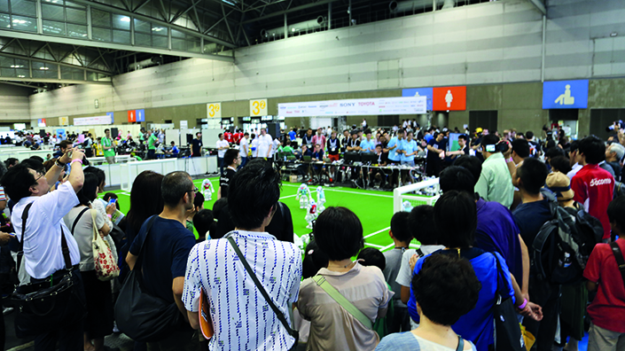 Crowds watch on at RoboCup 2017 (Credit: RoboCup)