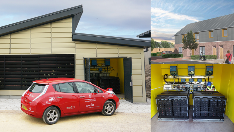 A new development in Port Neath (right, top) will incorporate power generating features including saltwater batteries (bottom, right). The technology has been tested in an 'energy-positive' classroom in Swansea (left)