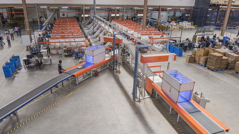 The Sorter robots busy sorting packages for delivery