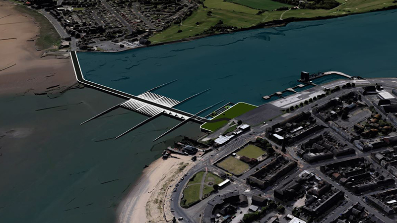An artist's impression of the potential Wyre Estuary tidal energy project (Credit: Simec Atlantis Energy)