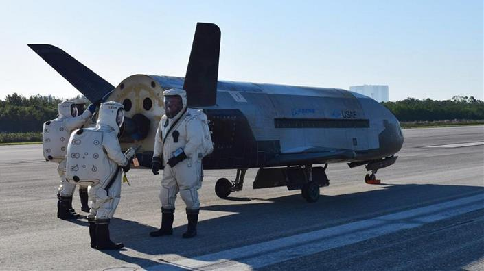 The mysterious X-37B space plane after landing from a previous mission (Credit: US Air Force)