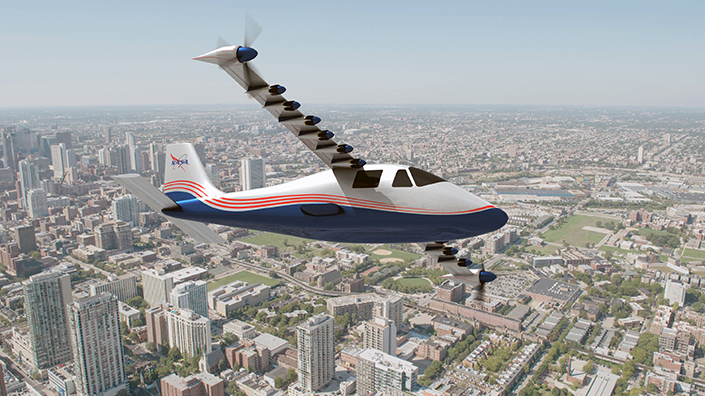 NASA's X-57 Maxwell over a city landscape (Credit: NASA)