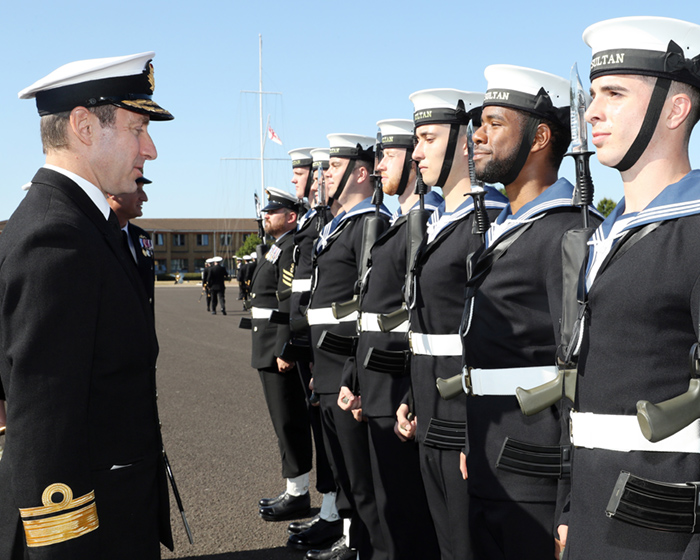 Admiral Paul Methven inspects the Guard of Honour at HMS Sultan 3 August 2018 700
