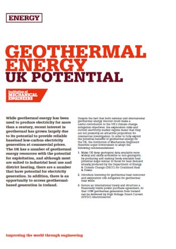 Geothermal Energy - UK Potential thumb