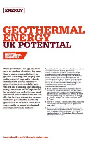 Geothermal Energy - UK Potential thumb