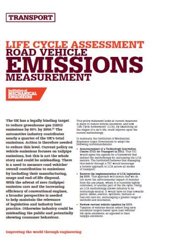 Life Cycle Assessment - Road Vehicle Emissions Measurement thumb