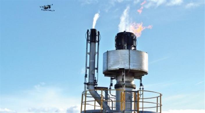 Flying Robot Checks Refinery Flare Stack