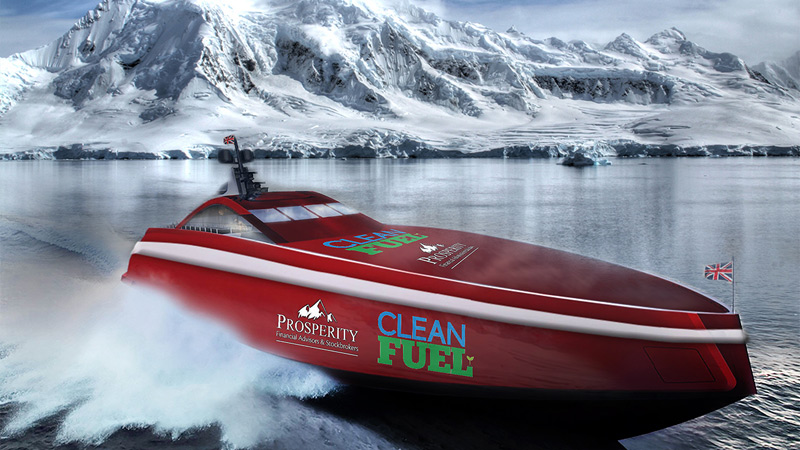 Pollution cutting fuel emulsion to power Team Britannia's 24,000 mile world record attemptImage