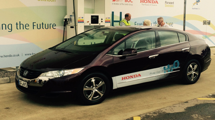 A Honda Fuel Cell Car at the refuelling station at the Swindon Factory