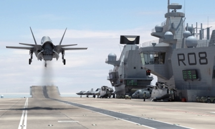 CGI of the operational aircraft carrier in action