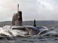 Royal Navy Submarine HMS Astute sailing up the Clyde thumb
